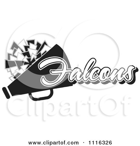Clipart Black And White Falcons Cheerleader Design - Royalty Free Vector Illustration by Johnny Sajem