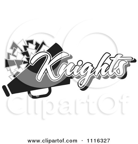 Clipart Black And White Knights Cheerleader Design - Royalty Free Vector Illustration by Johnny Sajem