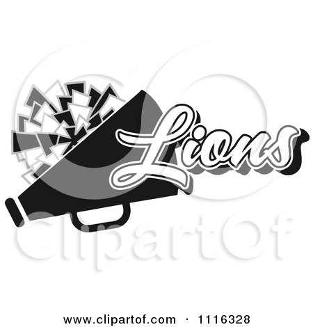 Clipart Black And White Lions Cheerleader Design - Royalty Free Vector Illustration by Johnny Sajem