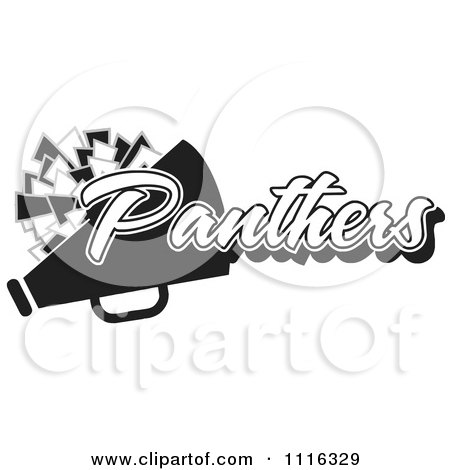 Clipart Black And White Panthers Cheerleader Design - Royalty Free Vector Illustration by Johnny Sajem