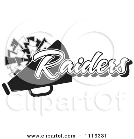 Clipart Black And White Raiders Cheerleader Design - Royalty Free Vector Illustration by Johnny Sajem