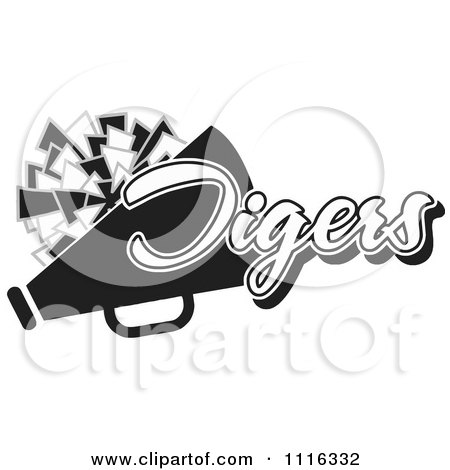 Clipart Black And White Tigers Cheerleader Design - Royalty Free Vector Illustration by Johnny Sajem