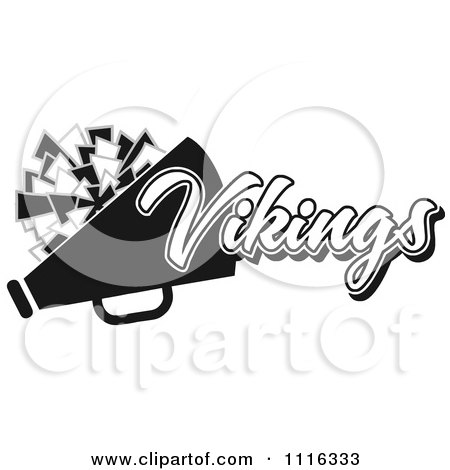 Clipart Black And White Vikings Cheerleader Design - Royalty Free Vector Illustration by Johnny Sajem