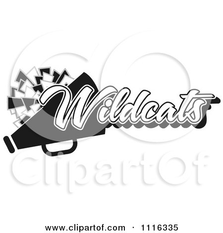 Clipart Black And White Wildcats Cheerleader Design - Royalty Free Vector Illustration by Johnny Sajem