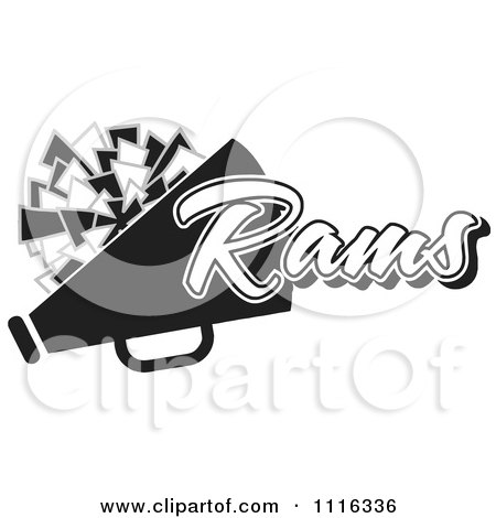 Clipart Black And White Rams Cheerleader Design - Royalty Free Vector Illustration by Johnny Sajem