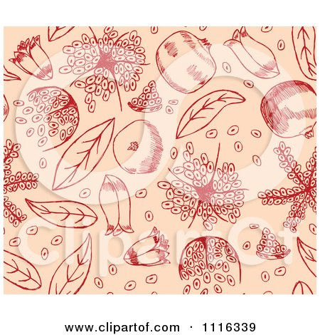 Clipart Seamless Red Pomegranate Pattern On Peach - Royalty Free Vector Illustration by Cherie Reve