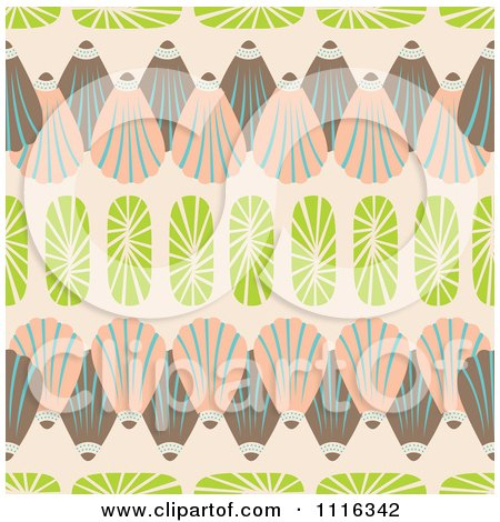 Clipart Seamless Seashell Background Pattern On Beige - Royalty Free Vector Illustration by Cherie Reve