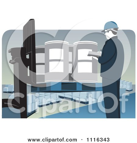 Clipart Quality Control Warehouse Worker Inspecting Drums On A Forklift - Royalty Free Vector Illustration by David Rey