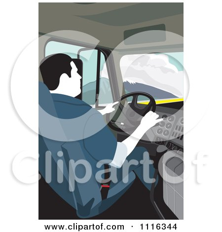 Clipart Big Rig Truck Driver Behind The Wheel - Royalty Free Vector Illustration by David Rey