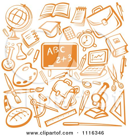 Clipart Orange Chalkboard Surrounded By School Items - Royalty Free Vector Illustration by Vector Tradition SM