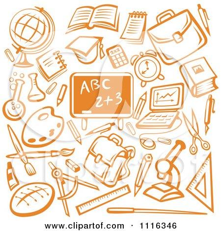 Orange Chalkboard Surrounded By School Items Posters, Art Prints