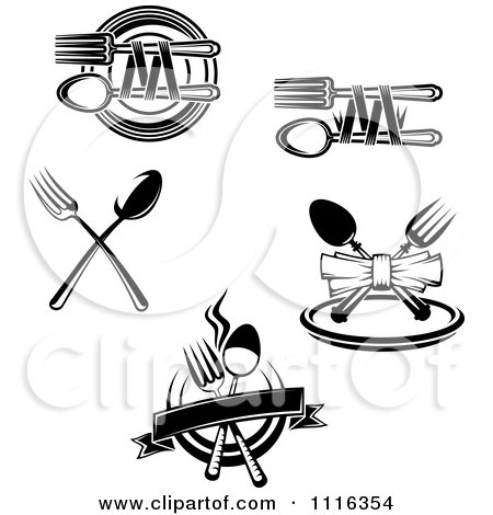 Clipart Black And White Dining And Restaurant Silverware Logos 2 - Royalty Free Vector Illustration by Vector Tradition SM