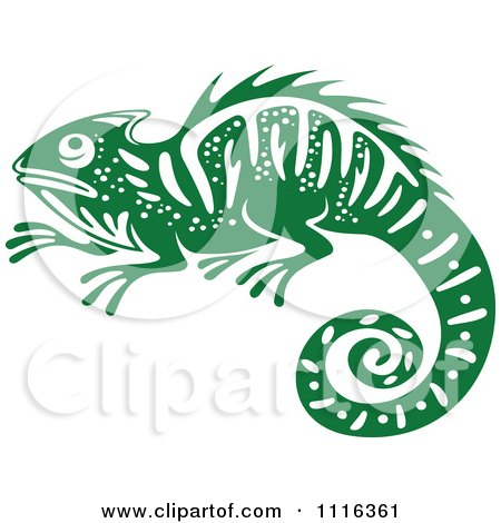 Clipart Green And White Chameleon Lizard Royalty Free Vector Illustration