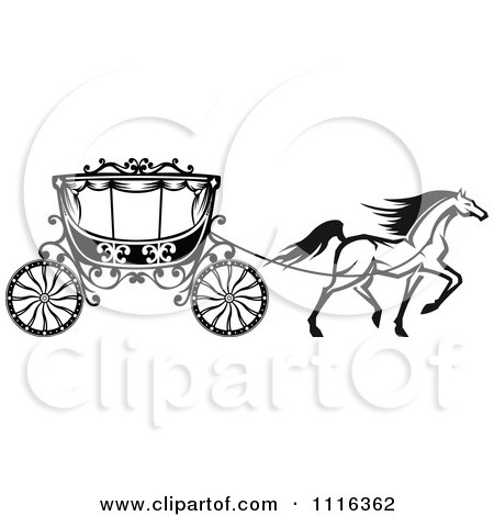 Clipart Black And White Prancing Horse And Romantic Wedding Carriage - Royalty Free Vector Illustration by Vector Tradition SM