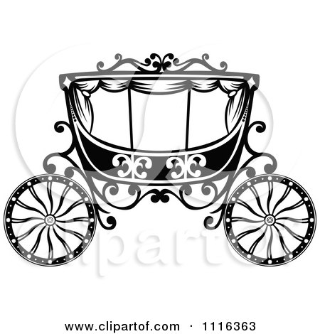 Black  White Wedding Decorations on Clipart Black And White Fairy Tale Romantic Wedding Carriage   Royalty