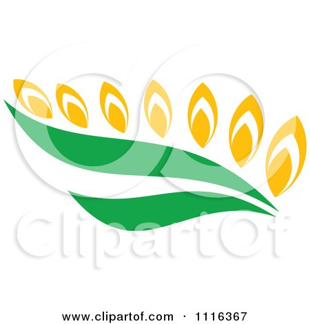 Clipart Strand Of Wheat And Green Leaves 1 - Royalty Free Vector Illustration by Vector Tradition SM