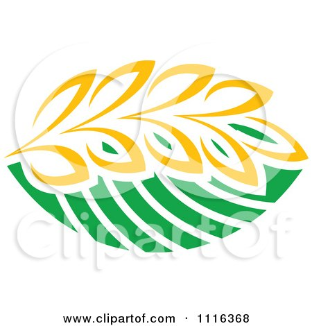 Clipart Strand Of Wheat And Green Leaves 2 - Royalty Free Vector Illustration by Vector Tradition SM
