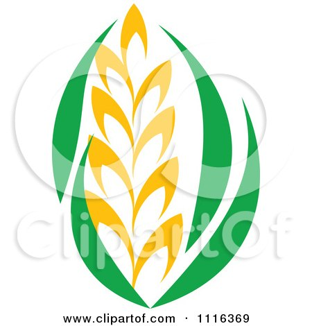 Clipart Strand Of Wheat And Green Leaves 3 - Royalty Free Vector Illustration by Vector Tradition SM