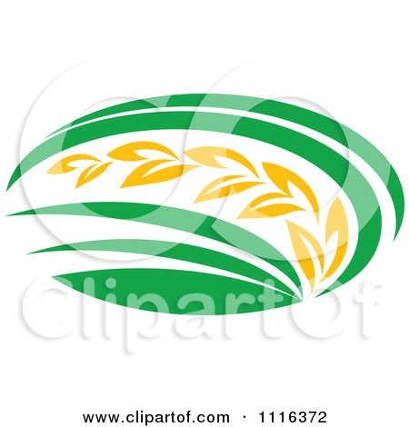 Clipart Strand Of Wheat And Green Leaves 6 - Royalty Free Vector Illustration by Vector Tradition SM