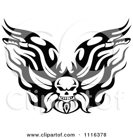 Clipart Black And White Flaming Skull Motorcycle Biker Handlebars - Royalty Free Vector Illustration by Vector Tradition SM