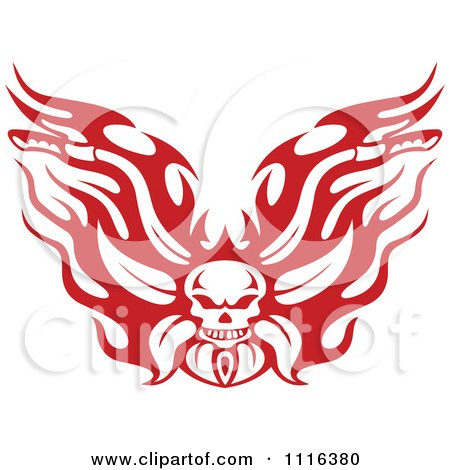 Clipart Red And White Flaming Skull Motorcycle Biker Handlebars - Royalty Free Vector Illustration by Vector Tradition SM