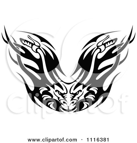 Clipart Black And White Flaming Demon Motorcycle Biker Handlebars - Royalty Free Vector Illustration by Vector Tradition SM