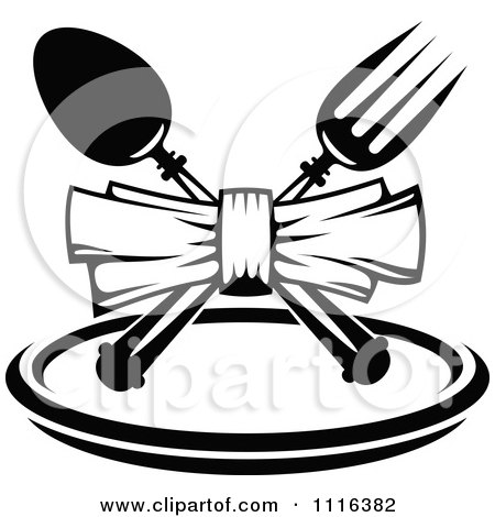 Clipart Black And White Dining And Restaurant Menu Silverware And Plate 2 - Royalty Free Vector Illustration by Vector Tradition SM