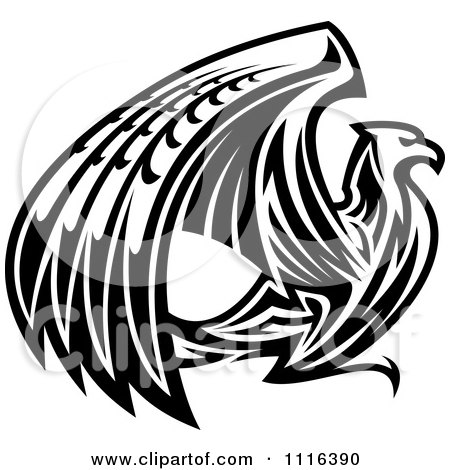 Clipart Black And White Griffin Or Eagle - Royalty Free Vector Illustration by Vector Tradition SM