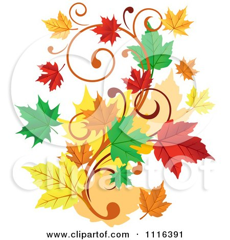 Clipart Scroll Vine With Autumn Leaves - Royalty Free Vector Illustration by Vector Tradition SM