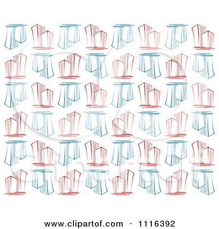 Clipart Seamless Background Pattern Of Blue And Red Skyscraper Buildings On White - Royalty Free Vector Illustration by Vector Tradition SM