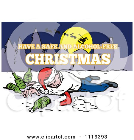Clipart Drunk Christmas Man With Beer Bottles Under Santa In The Sky - Royalty Free Vector Illustration by patrimonio
