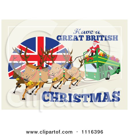 Clipart Santa And His Reindeer Operating A British Double Decker Bus - Royalty Free Vector Illustration by patrimonio