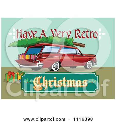 Clipart Retro Station Wagon With Presents A Tree And A Christmas Sign - Royalty Free Vector Illustration by patrimonio