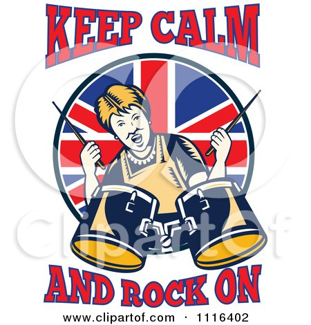 Clipart Retro British Granny Drummer With Keep Calm And Rock On Text - Royalty Free Vector Illustration by patrimonio