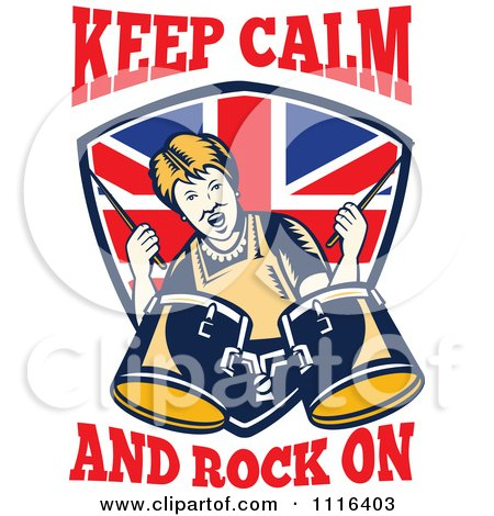 Clipart Retro British Granny Drummer Over A Shield With Keep Calm And Rock On Text - Royalty Free Vector Illustration by patrimonio