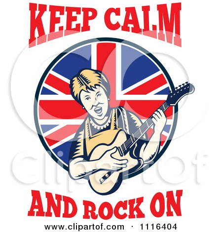 Clipart Retro British Granny Guitarist With Keep Calm And Rock On Text - Royalty Free Vector Illustration by patrimonio