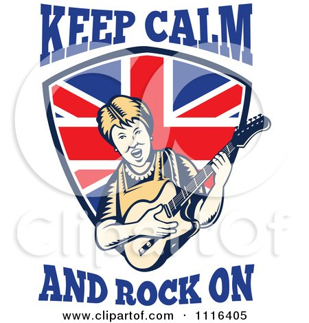 Clipart Retro British Granny Guitarist Over A Shield With Keep Calm And Rock On Text - Royalty Free Vector Illustration by patrimonio