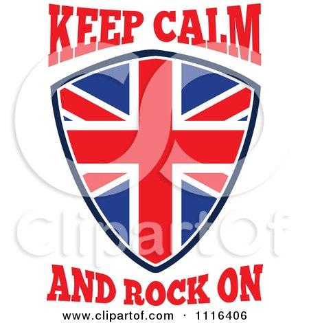 Clipart Union Jack British Flag Shield With Keep Calm And Rock On Text - Royalty Free Vector Illustration by patrimonio