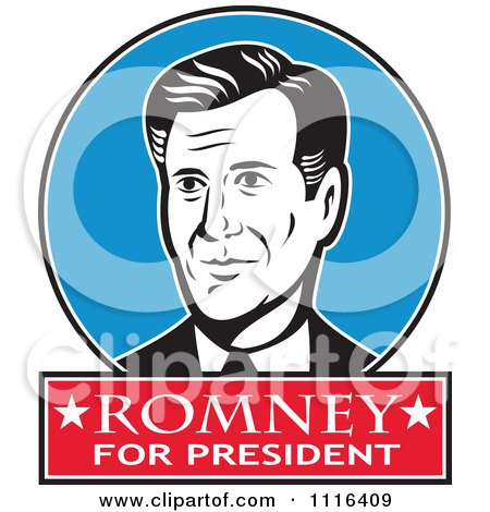 Clipart Retro Mitt Romney Portrait In A Blue Circle With Romney For President Text - Royalty Free Vector Illustration by patrimonio