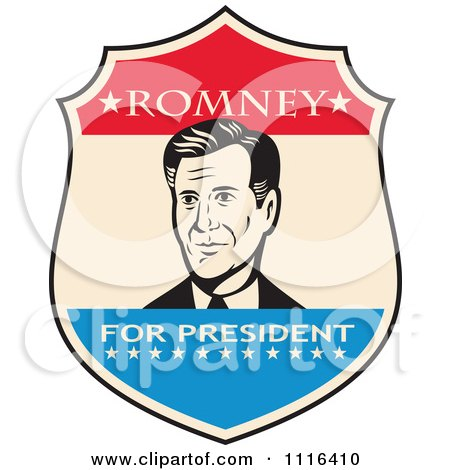 Clipart Retro Mitt Romney Portrait In A Shield With Romney For President Text - Royalty Free Vector Illustration by patrimonio