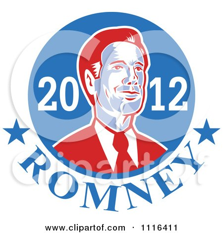 Clipart Retro Mitt Romney Portrait In A Blue Circle With 2012 Romney Text - Royalty Free Vector Illustration by patrimonio