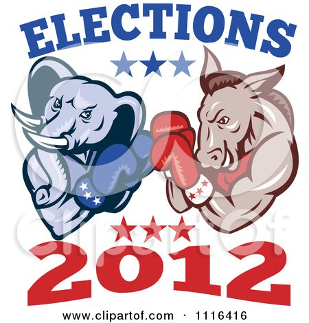 Clipart Democratic Donkey And Republican Elephant Boxing With Elections 2012 Text - Royalty Free Vector Illustration by patrimonio