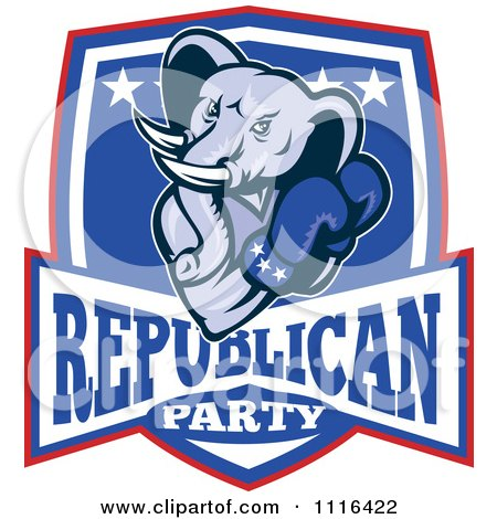 Clipart Retro Elephant Boxer In A Republican Party Shield - Royalty Free Vector Illustration by patrimonio
