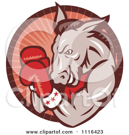 Retro Democratic Donkey Boxer In A Red Ray Circle Posters, Art Prints