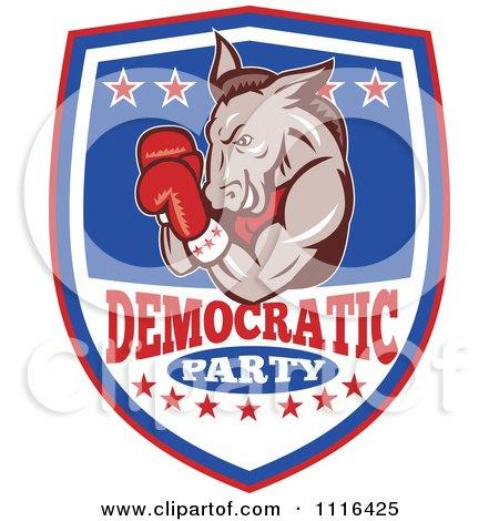 Retro Donkey Boxer On A Democratic Party Shield Posters, Art Prints