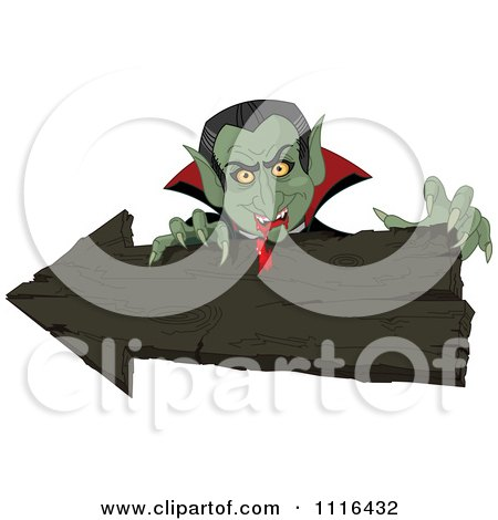 Clipart Halloween Vampire With Bloody Fangs Over A Wooden Arrow Sign - Royalty Free Vector Illustration by Pushkin