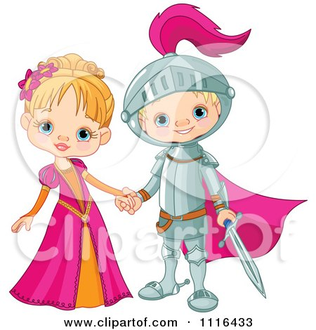 Clipart Fairy Tale Fantasy Princess And Knight Holding Hands - Royalty Free Vector Illustration by Pushkin