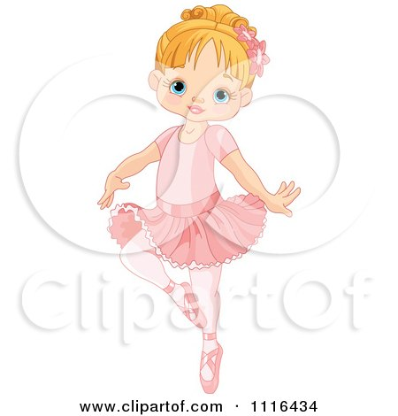 Clipart Cute Blond Girl Danncing Ballet In A Tutu - Royalty Free Vector Illustration by Pushkin