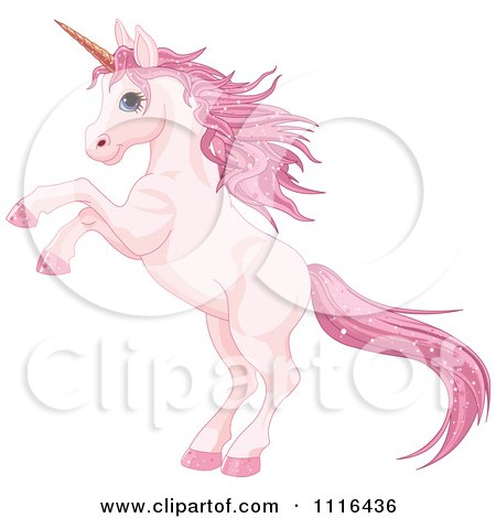 Clipart Cute Rearing Pink Unicorn With Sparkly Hair - Royalty Free Vector Illustration by Pushkin