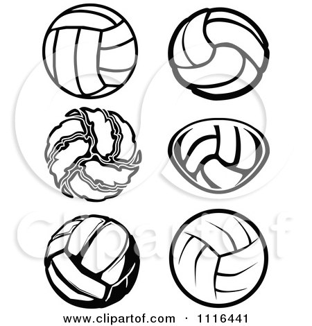 Clipart Black And White Volleyball Designs - Royalty Free Vector ...
